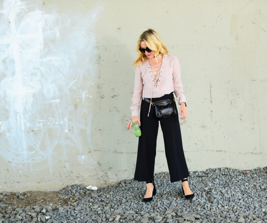 blush lace up black culottes 4