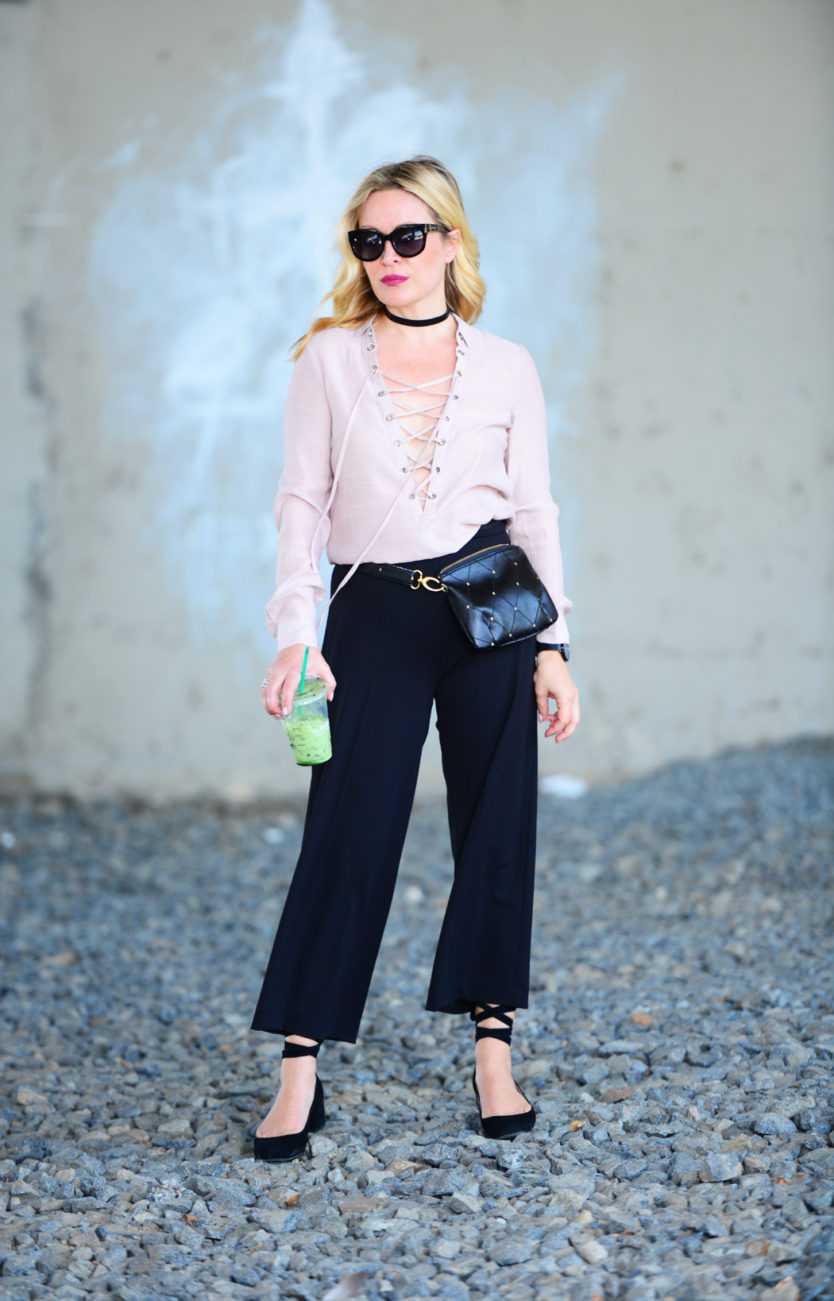 blush lace up black culottes 5