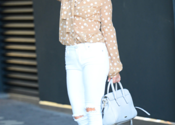 Beige Dots, White Denim.
