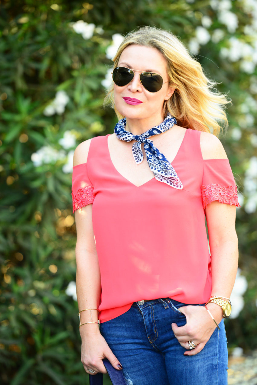 cold shoulder top and denim 2