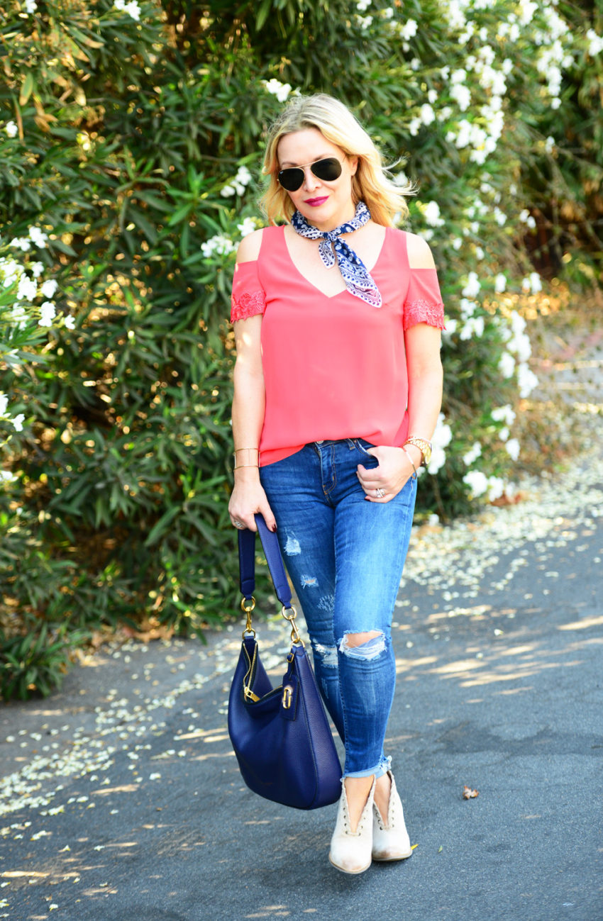 cold shoulder top and denim 5
