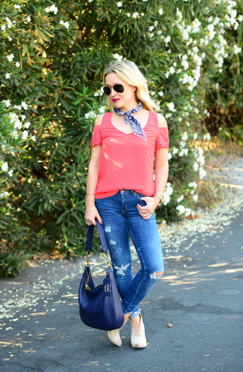 cold shoulder top and denim 6
