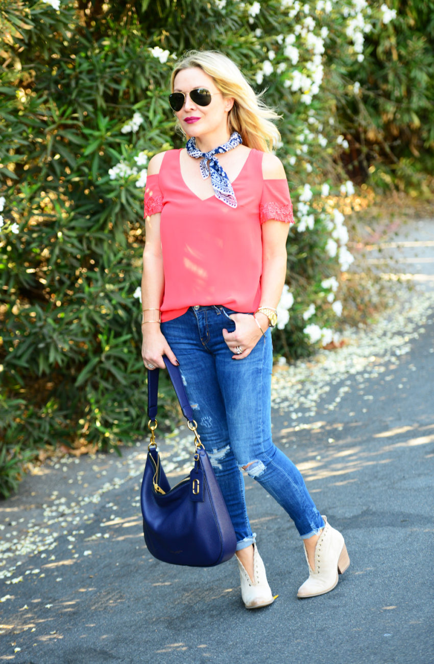 cold shoulder top and denim