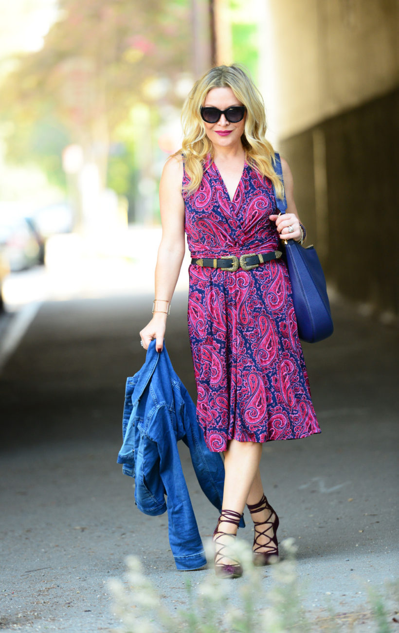 paisley-dress-lace-up-heels-1 -  Paisley Dress & Suede Lace Ups featured by popular Los Angeles fashion blogger, The Hunter Collector