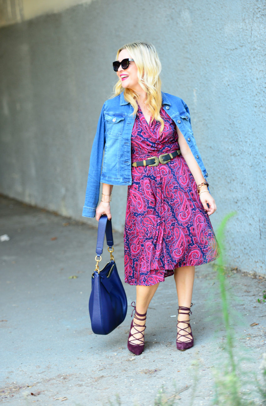 paisley-dress-lace-up-heels-2 -  Paisley Dress & Suede Lace Ups featured by popular Los Angeles fashion blogger, The Hunter Collector