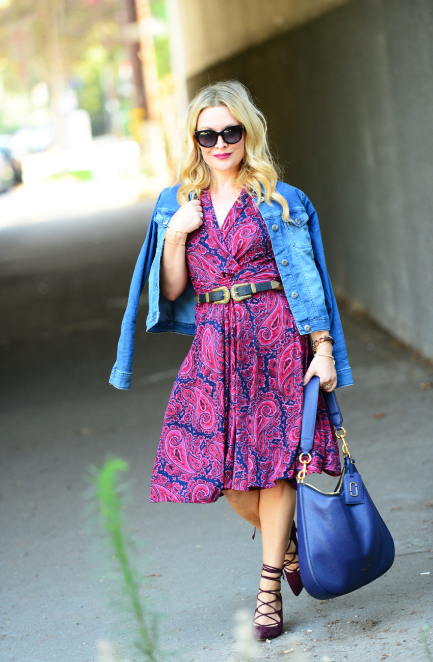 paisley-dress-lace-up-heels-3 -  Paisley Dress & Suede Lace Ups featured by popular Los Angeles fashion blogger, The Hunter Collector