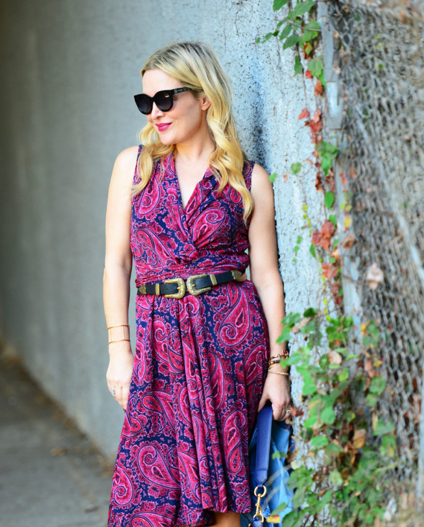 paisley-dress-lace-up-heels-4 -  Paisley Dress & Suede Lace Ups featured by popular Los Angeles fashion blogger, The Hunter Collector