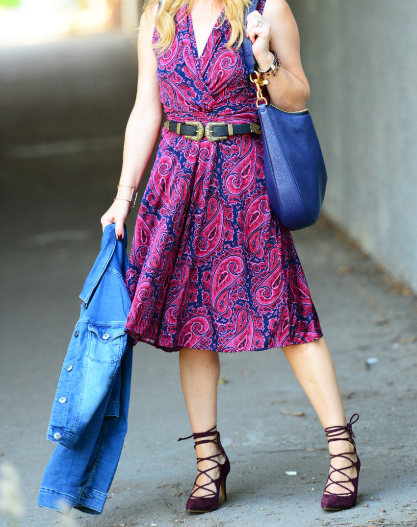 paisley-dress-lace-up-heels-6 -  Paisley Dress & Suede Lace Ups featured by popular Los Angeles fashion blogger, The Hunter Collector
