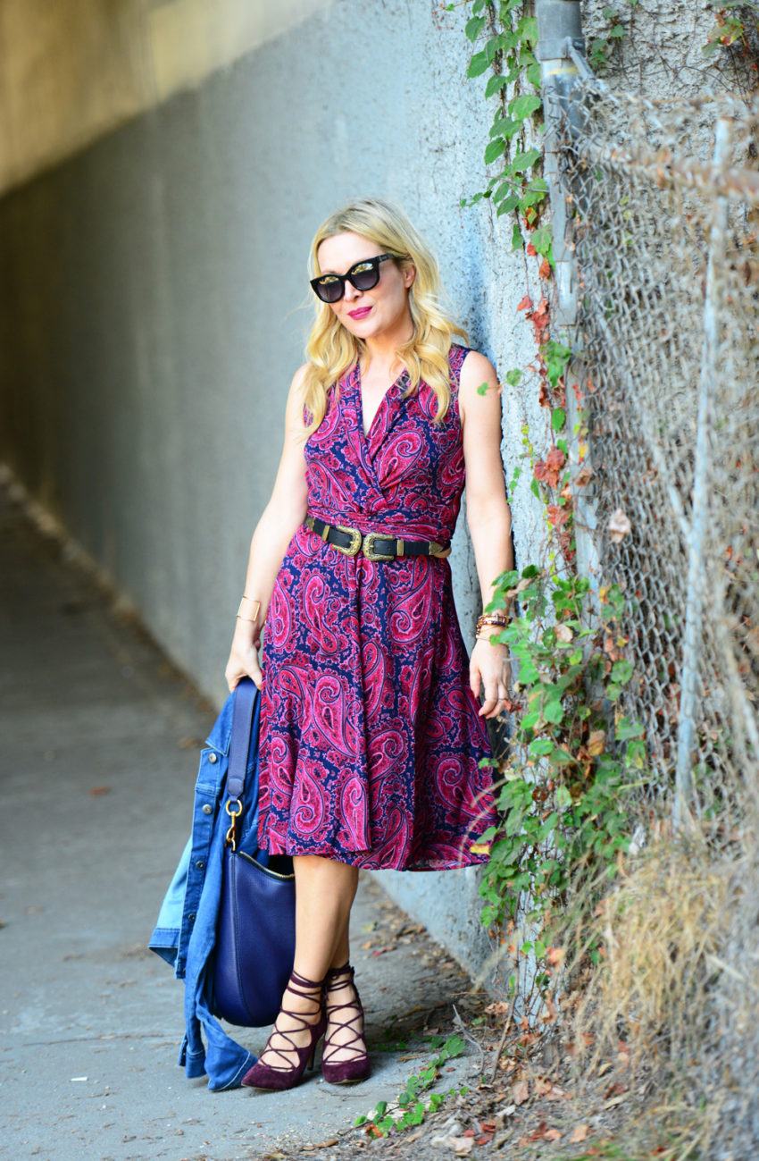 paisley-dress-lace-up-heels-7 -  Paisley Dress & Suede Lace Ups featured by popular Los Angeles fashion blogger, The Hunter Collector