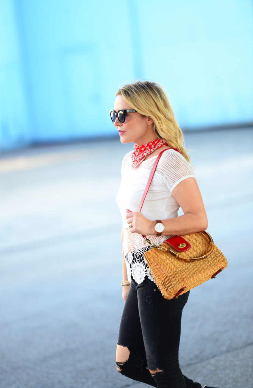 straw bag, lace top 7