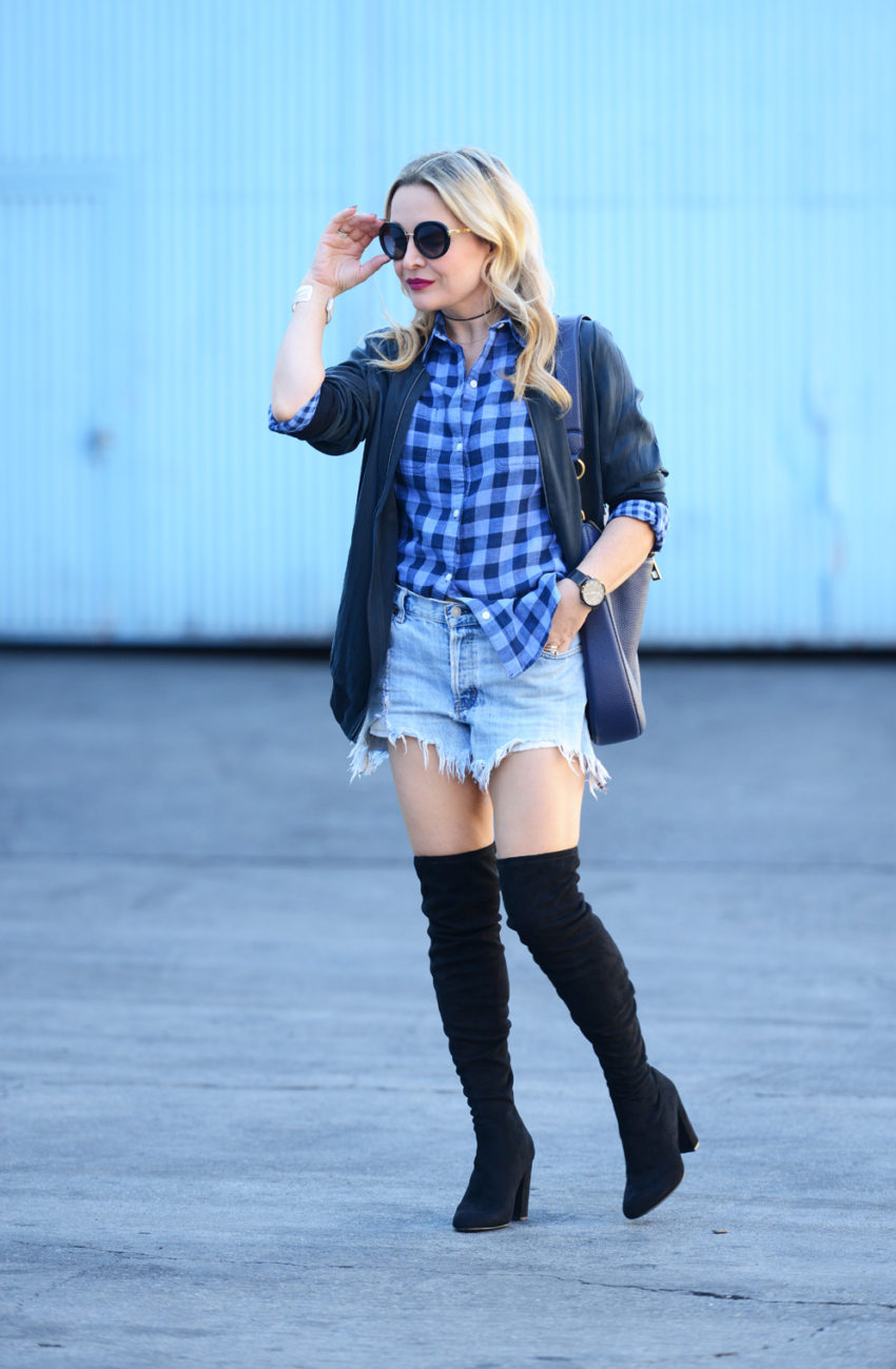 plaid-shirt-thigh-high-boots-2