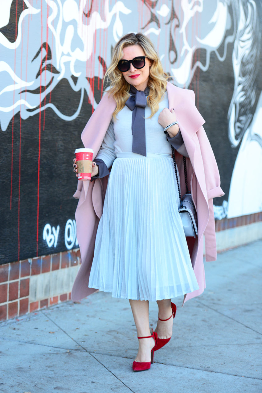 silver-skirt-pink-coat-1
