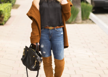 Chunky Cardigan, Lace Crop Top.