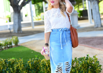 Distressed Denim Skirt, Lace Top.