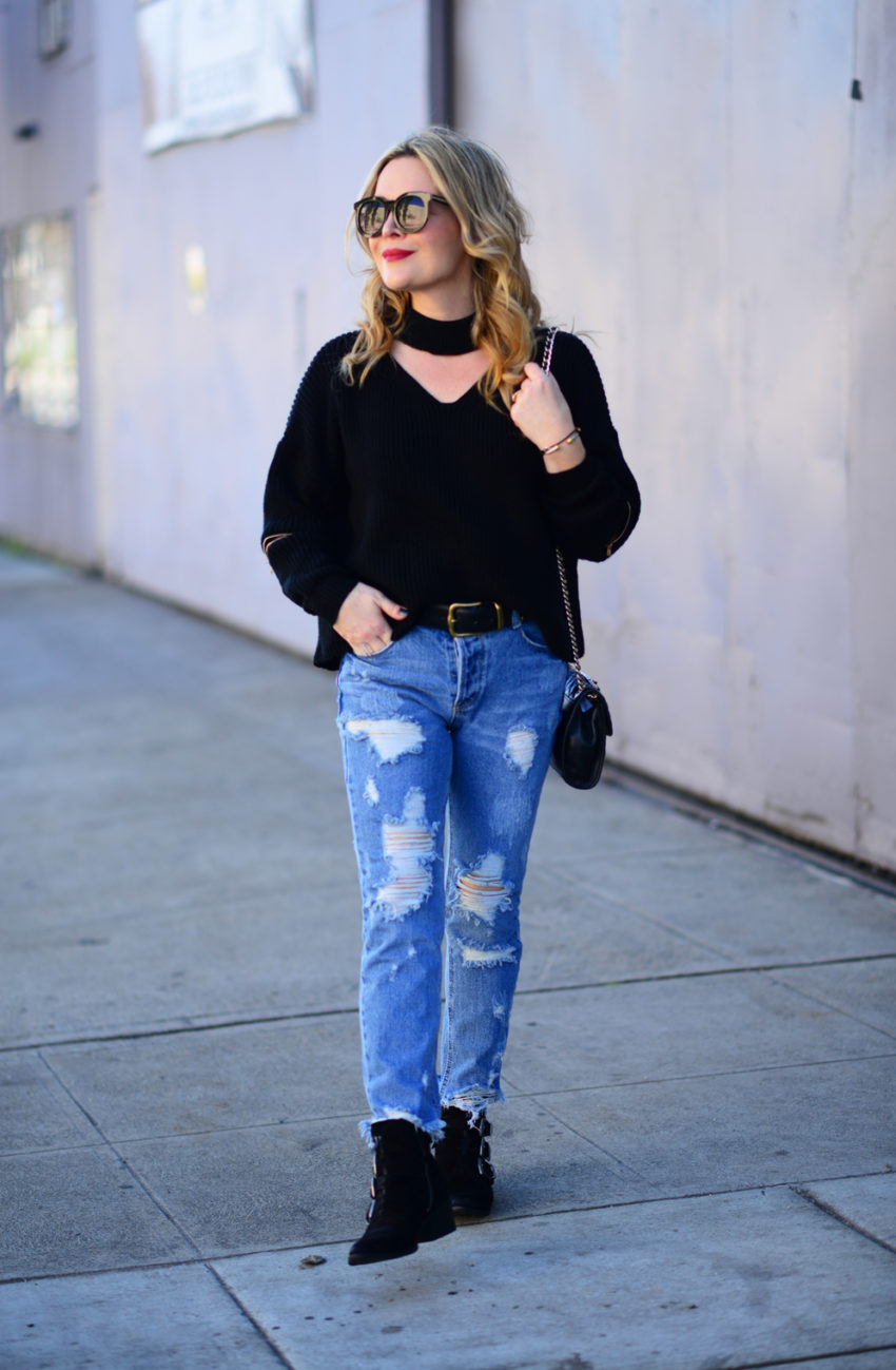 choker sweater ripped denim 2