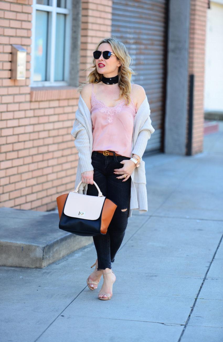 pink cami black jeans 1