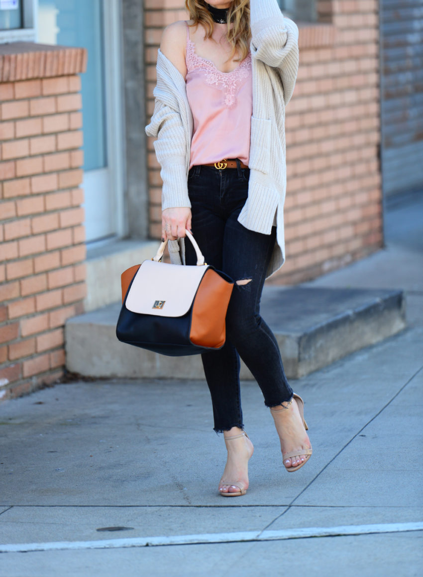 pink cami black jeans 2