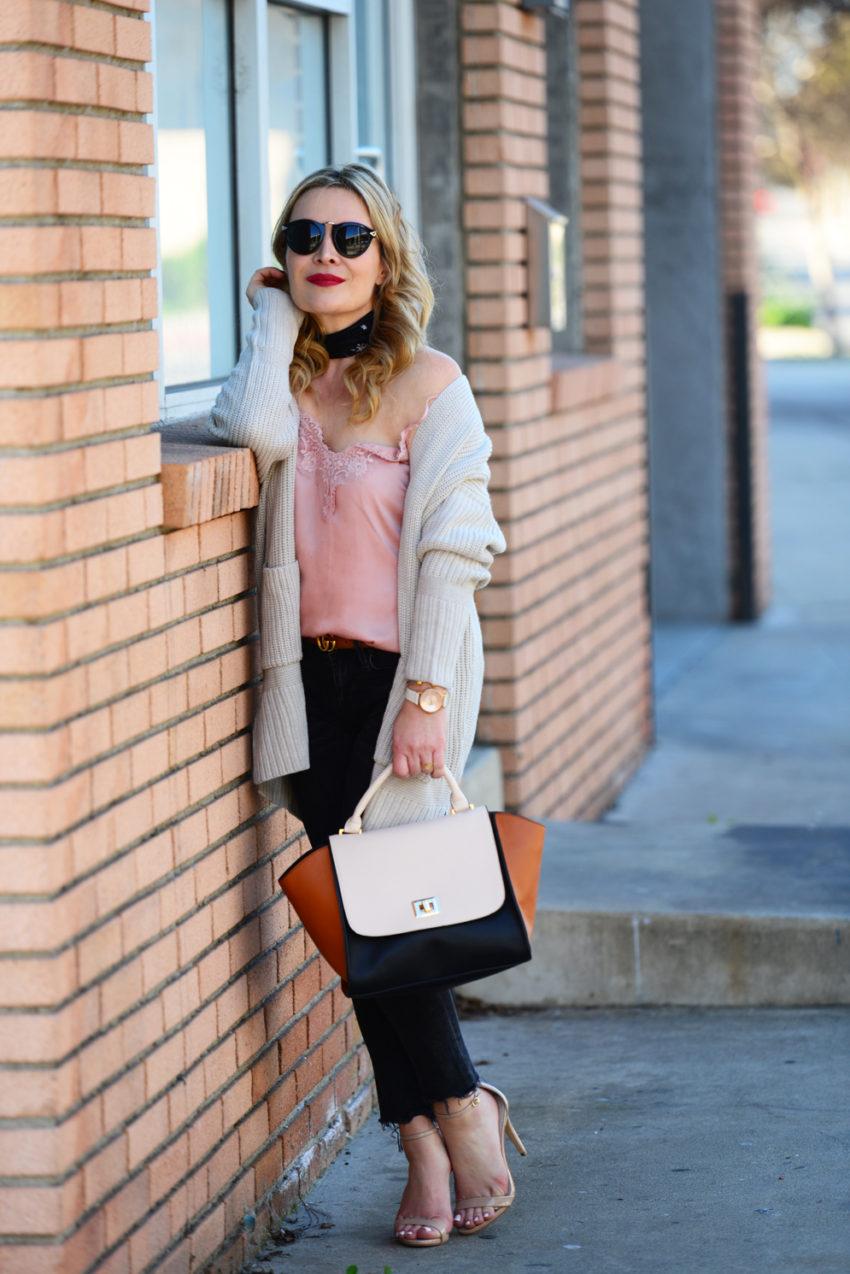 pink cami black jeans 3