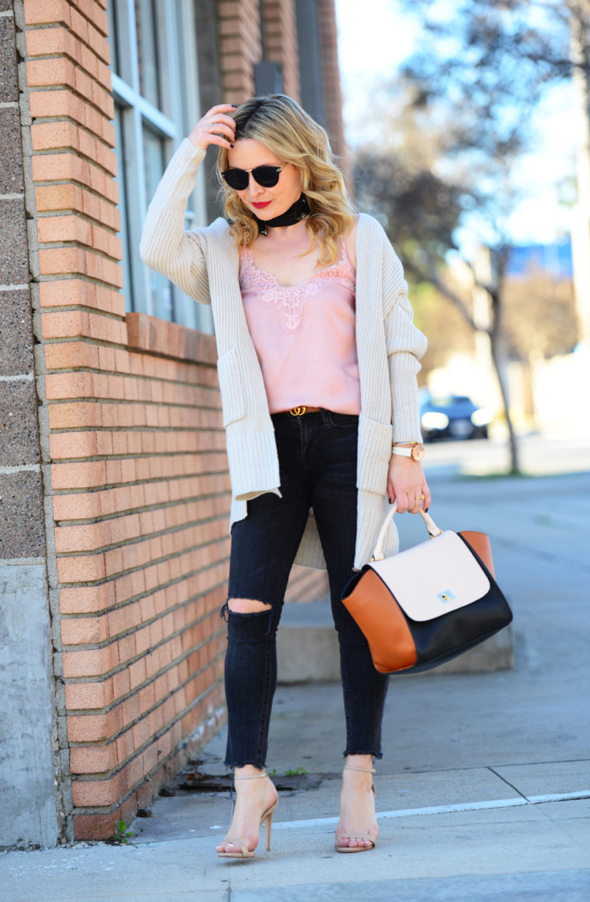 pink cami black jeans 6