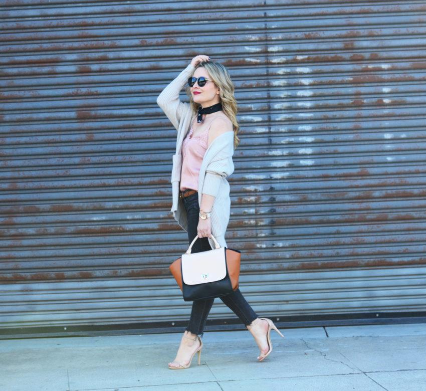 pink cami black jeans 7