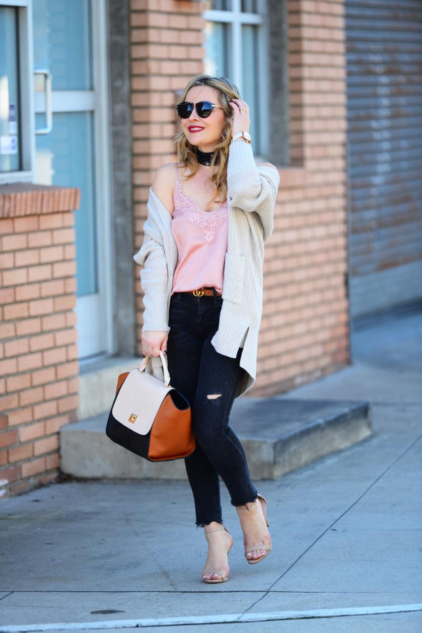 pink cami black jeans 8