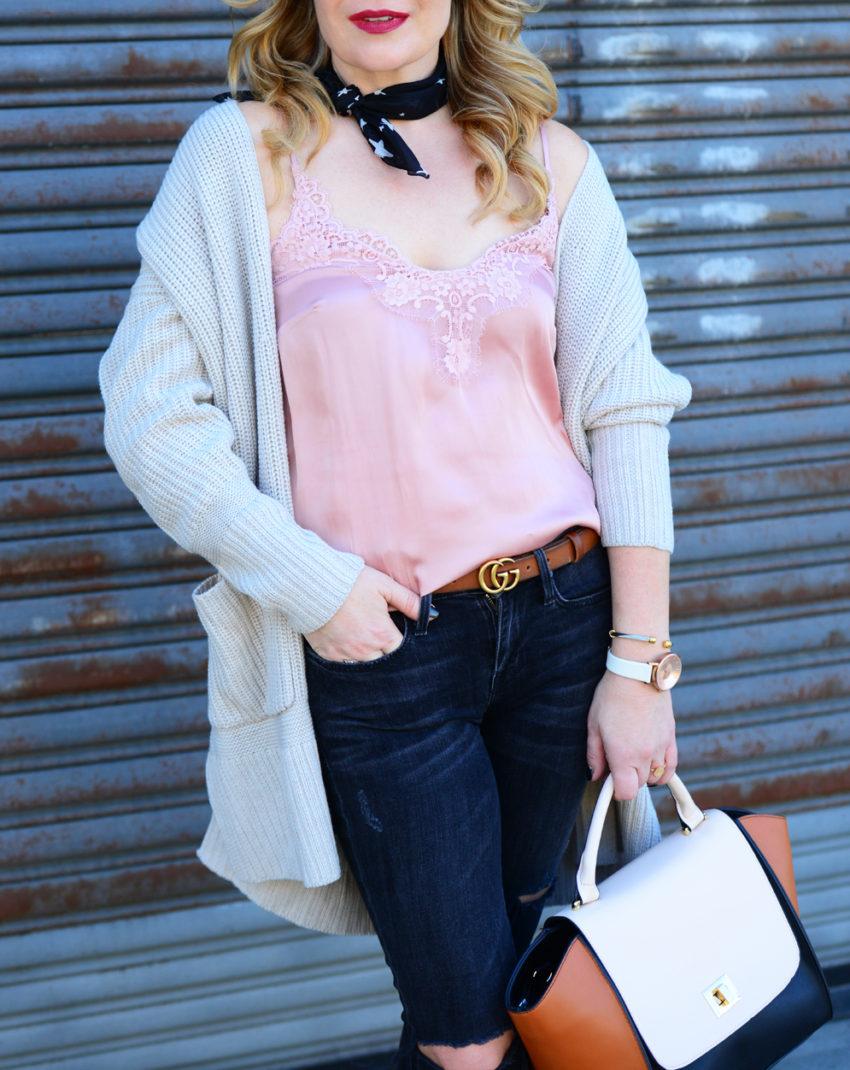 pink cami black jeans 9