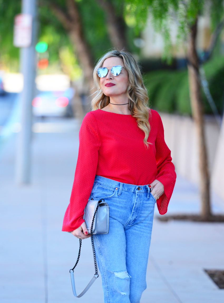 red sleeves high waist 6