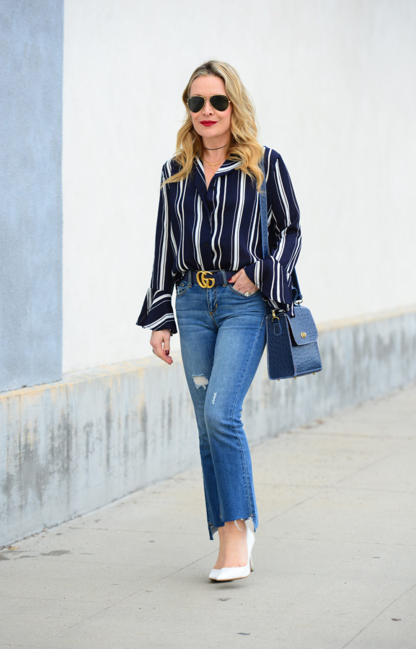 striped bells cropped flares 1