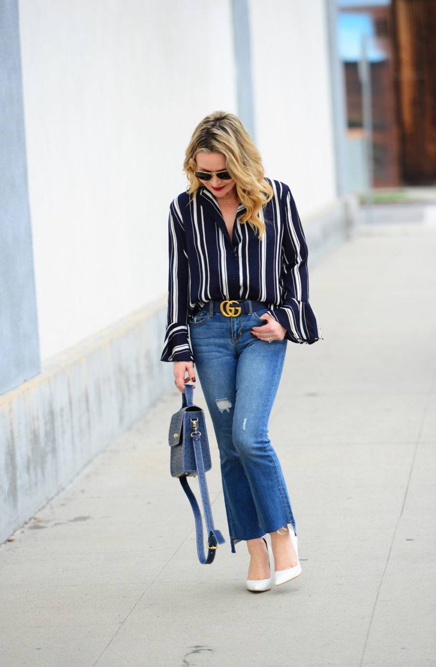 striped bells cropped flares 6
