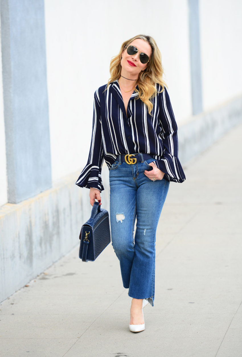 striped bells cropped flares 7