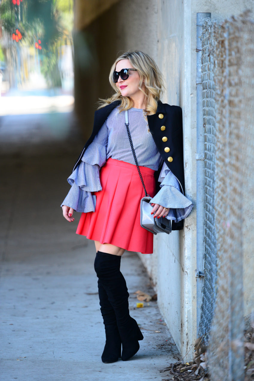 Striped Ruffles, Red Mini.