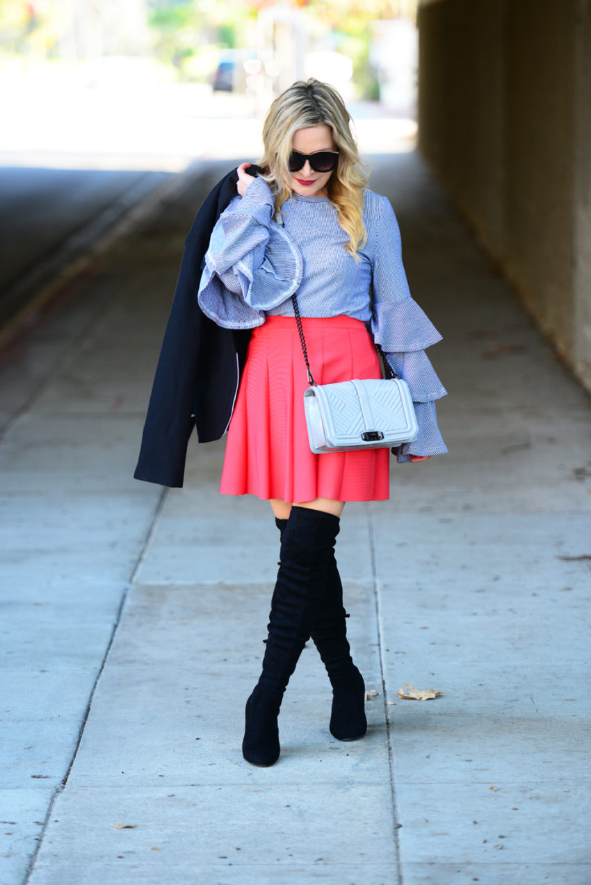 striped ruffles red skirt 2