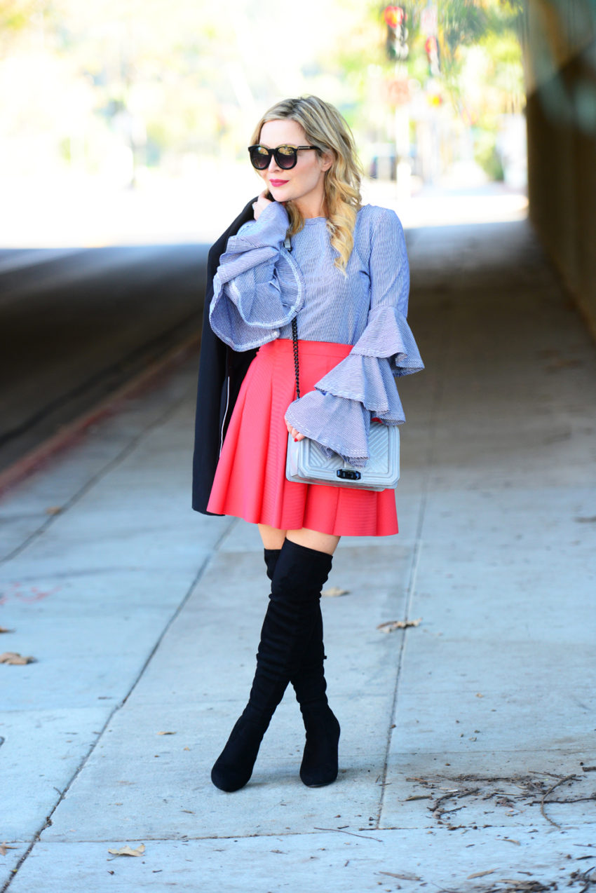 striped ruffles red skirt 3