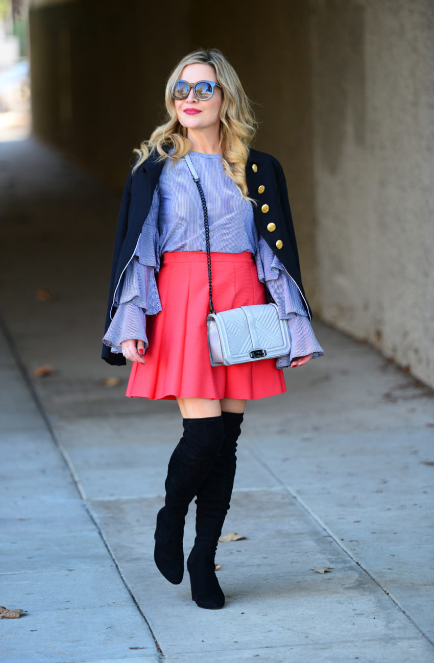 striped ruffles red skirt 5
