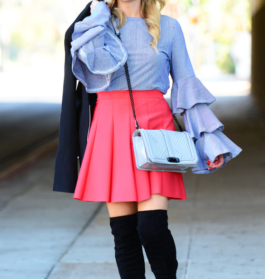 striped ruffles red skirt 8
