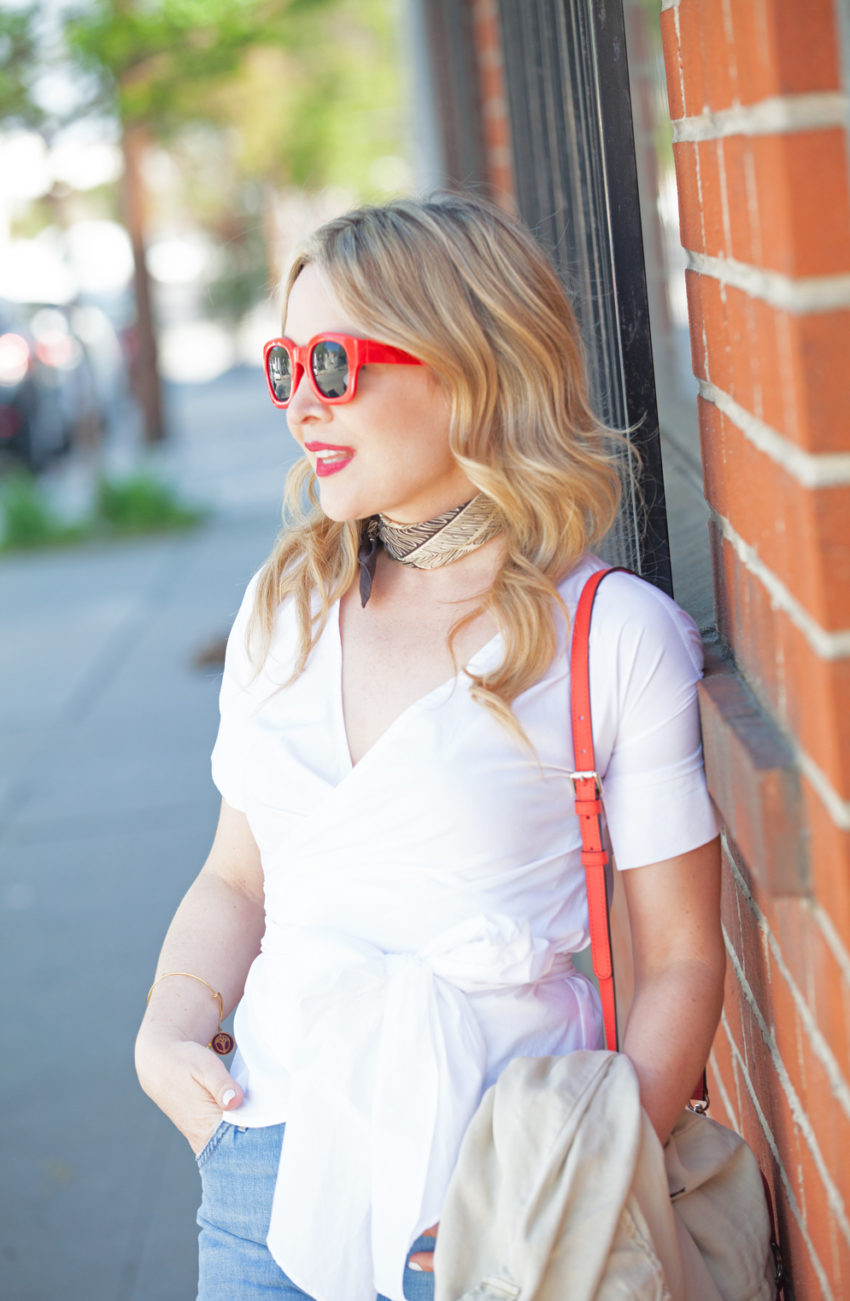 white bow shirt