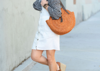 Gingham Off Shoulder, Straw Bag, Suede Wedges.