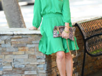 green peasant dress
