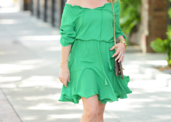 Green Peasant Dress, Suede Wedges.