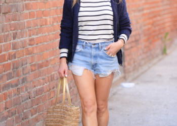 Navy Stripes, Denim, Chic Scarf.