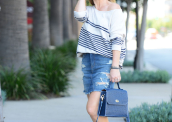 Striped Cashmere, Denim Skirt.