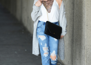 White Lace Cami, Chunky Knit.