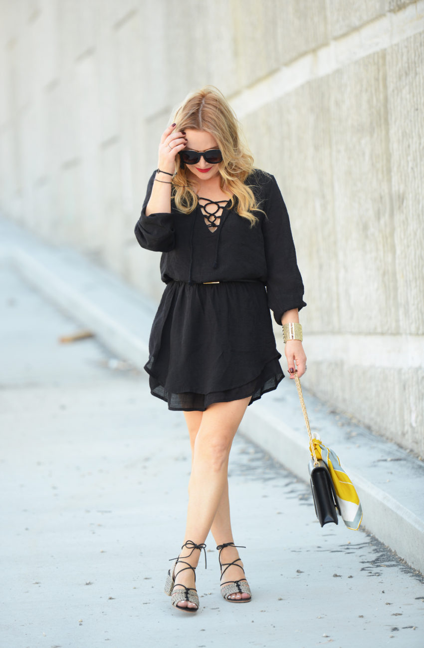 Black Lace Up Dress, Raffia Sandals.