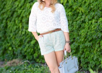Lace Shorts, Boater Hat, Platform Heels.