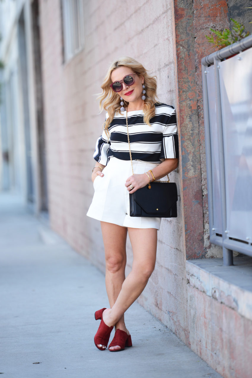 Black and White Stripes, High Waist Shorts.