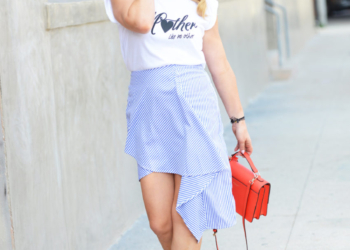 Asymmetrical Skirt, Graphic Tee.