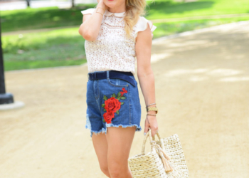 Embroidered Shorts, Lace Top.