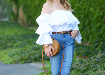 Ruffled Top , Two Tone Denim.