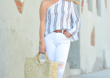 One Shoulder, White Denim