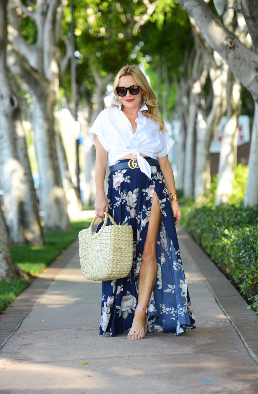 White Shirt, Floral Maxi Skirt.